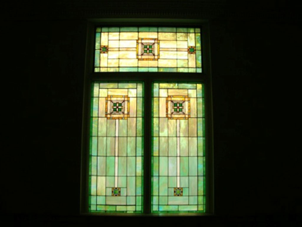Millet stained-glass window