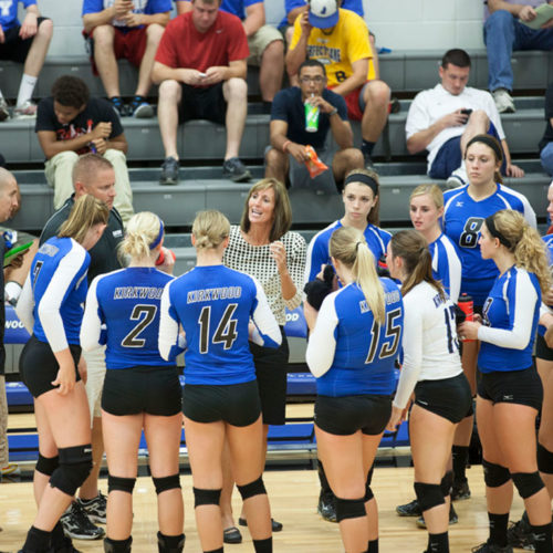 Head Volleyball Coach Jill Williams speaks to her players