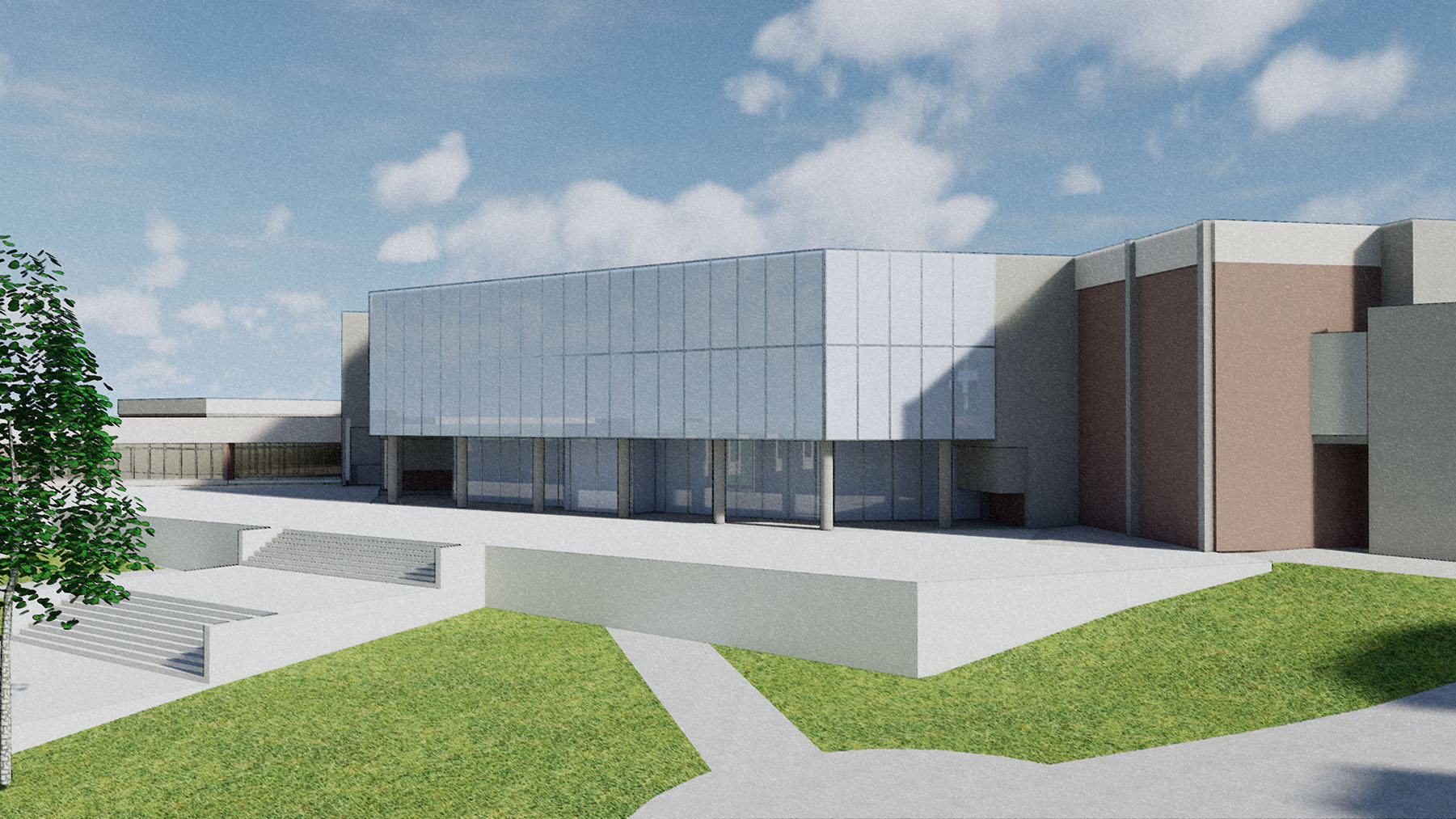 a rendering of Iowa Hall where the new student center will be located
